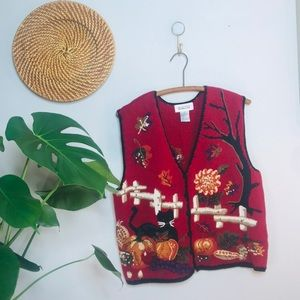 vtg retro 90s fall autumn knit sweater vest